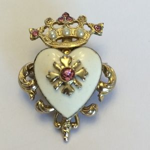 Vintage Coro Heart with Crown Brooch